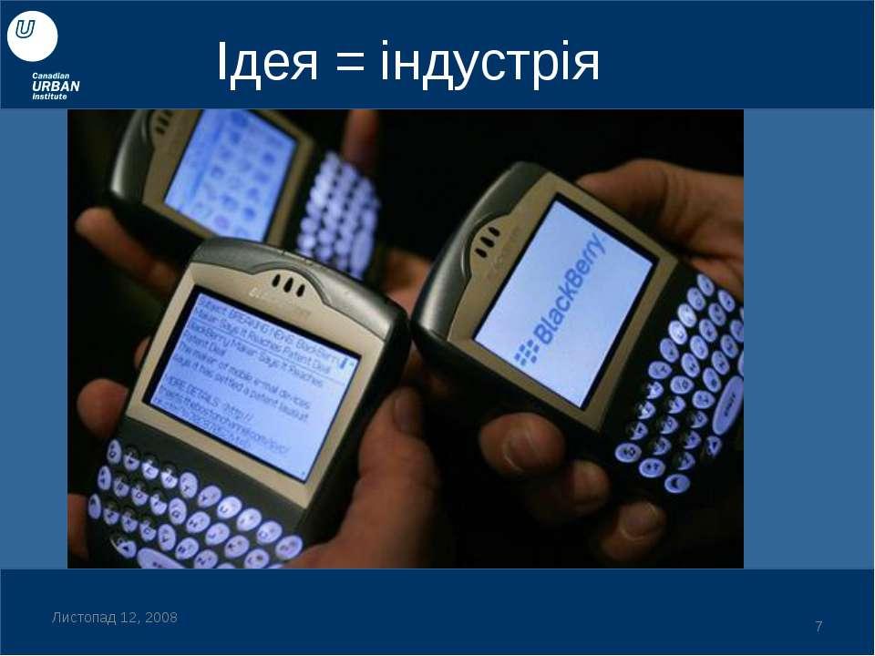 Ідея = індустрія Листопад 12, 2008 *