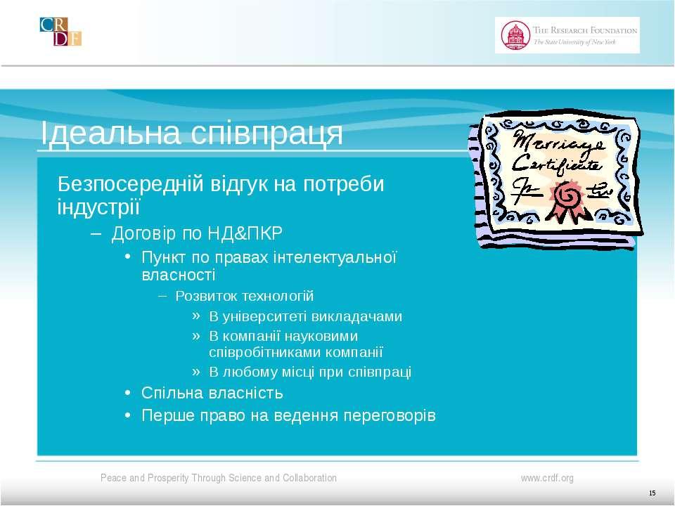 Ідеальна співпраця Безпосередній відгук на потреби індустрії Договір по НД&ПК...