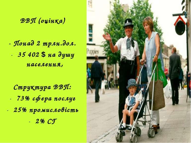 ВВП (оцінка) - Понад 2 трлн.дол. 35 402 $ на душу населення, Структура ВВП: 7...