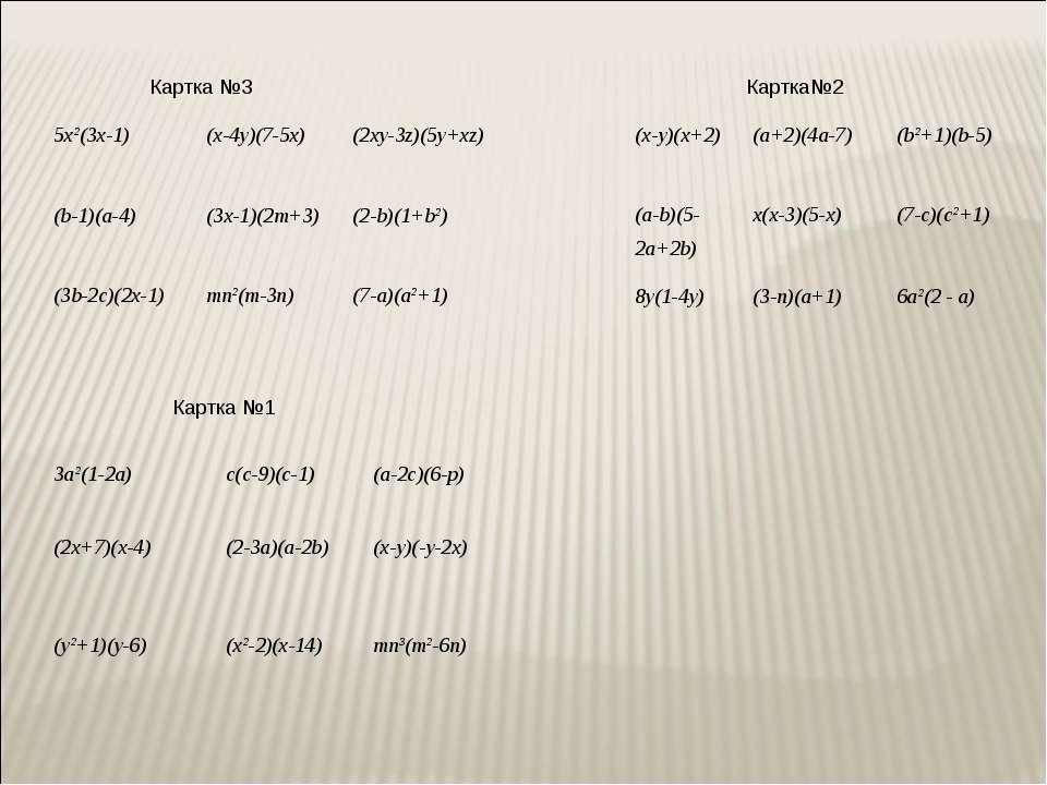 Картка №3 Картка №1 Картка№2 3a²(1-2a) c(c-9)(c-1) (a-2c)(6-p) (2x+7)(x-4) (2...