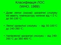 Класифікація ЛОС (WHO, 1989): Дуже леткі (газові) органічні сполуки які мають...