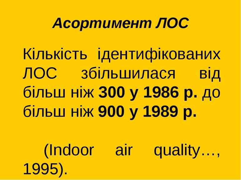 Асортимент ЛОС Кількість ідентифікованих ЛОС збільшилася від більш ніж 300 у ...