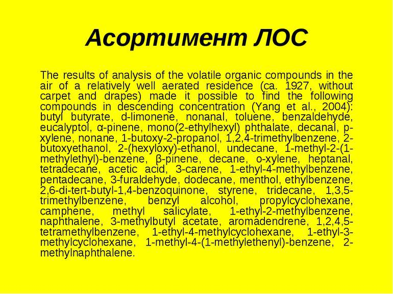 Асортимент ЛОС The results of analysis of the volatile organic compounds in t...