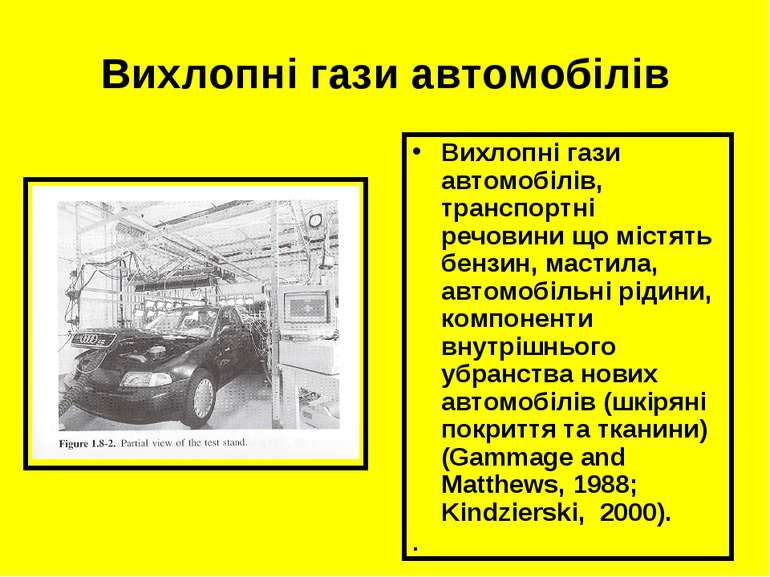 Вихлопні гази автомобілів Вихлопні гази автомобілів, транспортні речовини що ...