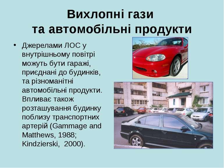Вихлопні гази та автомобільні продукти Джерелами ЛОС у внутрішньому повітрі м...