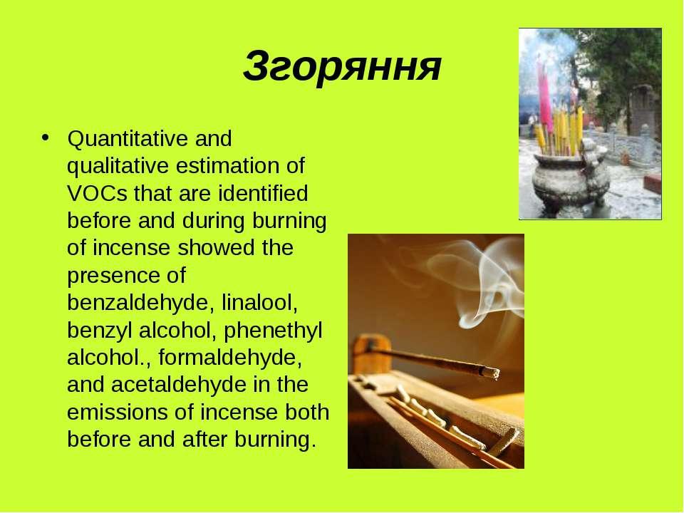 Згоряння Quantitative and qualitative estimation of VOCs that are identified ...