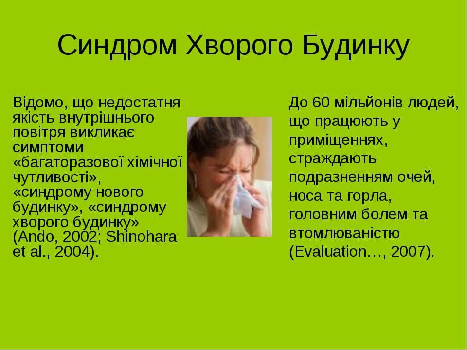 Синдром Хворого Будинку Відомо, що недостатня якість внутрішнього повітря вик...