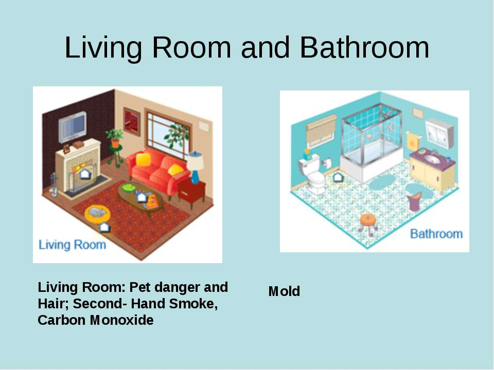 Living Room and Bathroom Living Room: Pet danger and Hair; Second- Hand Smoke...