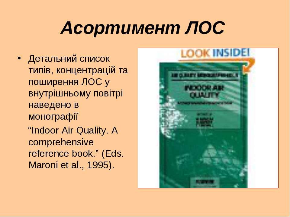 Асортимент ЛОС Детальний список типів, концентрацій та поширення ЛОС у внутрі...