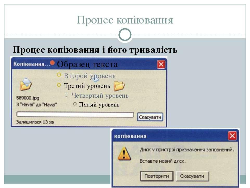 Процес копіювання Процес копіювання і його тривалість