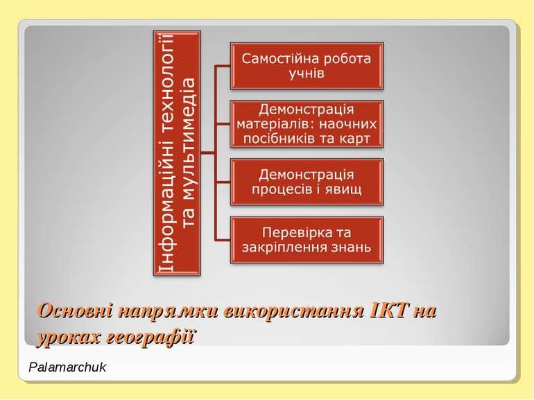 Основні напрямки використання ІКТ на уроках географії Palamarchuk