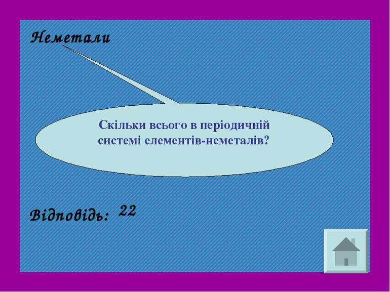 Неметали Скільки всього в періодичній системі елементів-неметалів? Відповідь: 22
