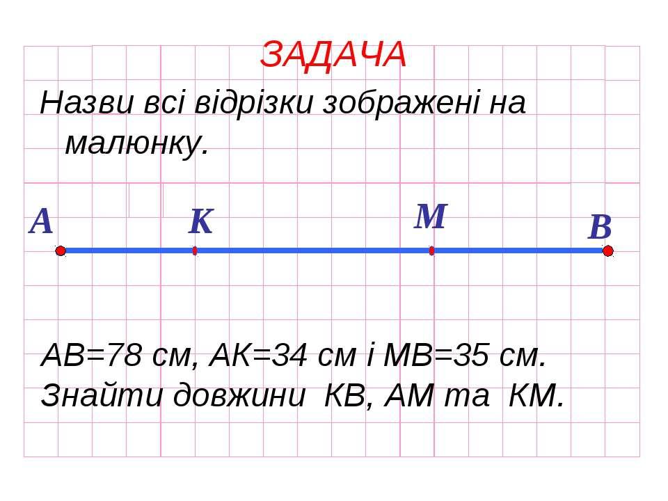 ЗАДАЧА Назви всі відрізки зображені на малюнку. А К М В АВ=78 см, АК=34 см і ...