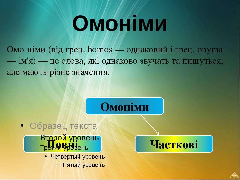 Омоніми Омо німи (від грец. homos — однаковий і грец. onyma — ім'я) — це слов...
