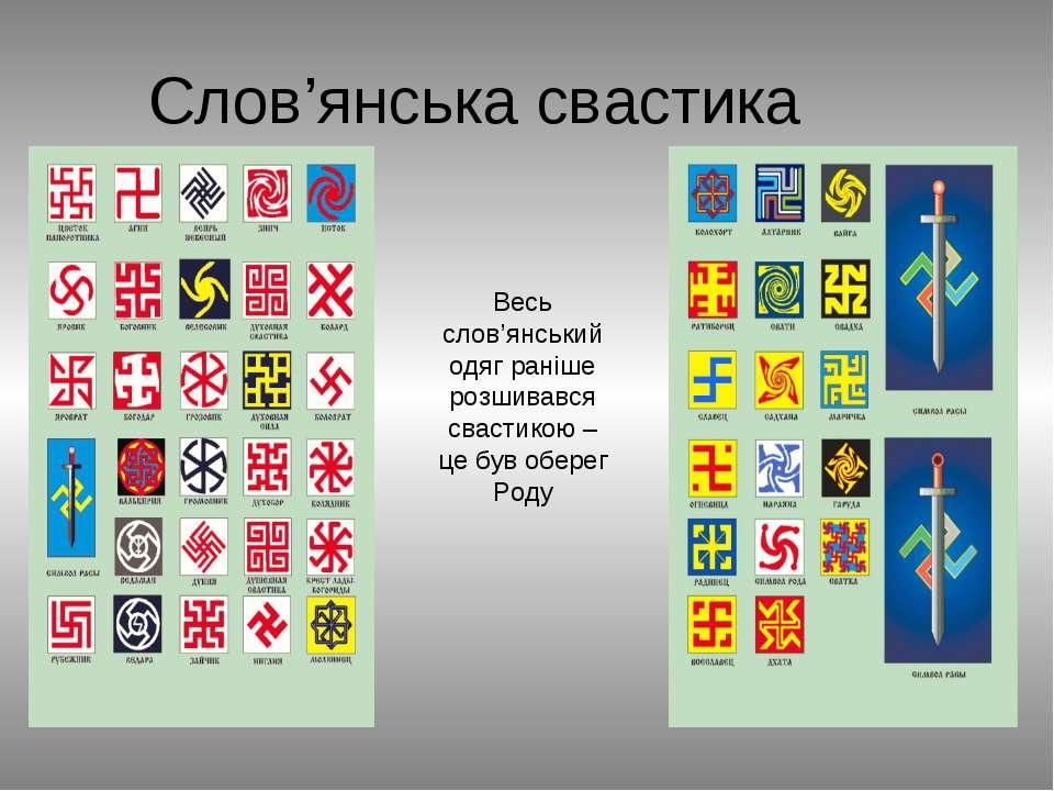 Слов'янська свастика Весь слов'янський одяг раніше розшивався свастикою – це ...