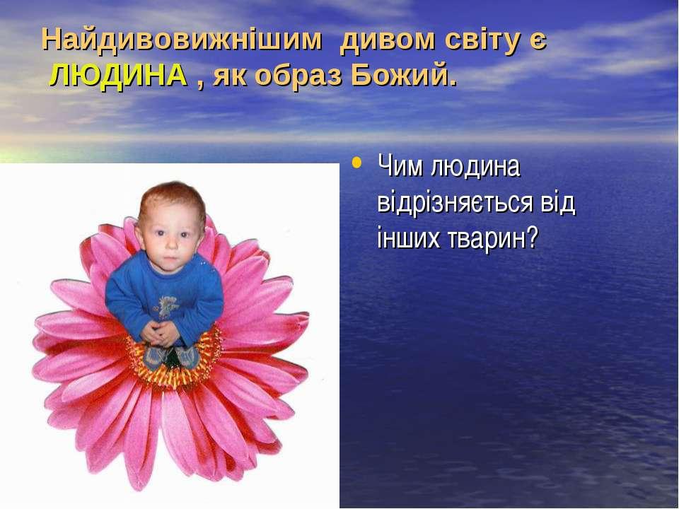 Найдивовижнішим дивом світу є ЛЮДИНА , як образ Божий. Чим людина відрізняєть...