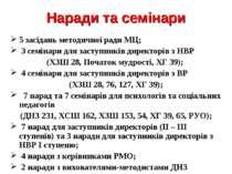 Наради та семінари 5 засідань методичної ради МЦ; 3 семінари для заступників ...
