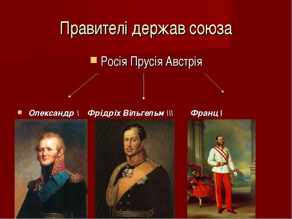 Правителі держав союза Росія Прусія Австрія Олександр \ Фрідріх Вільгельм \\\...