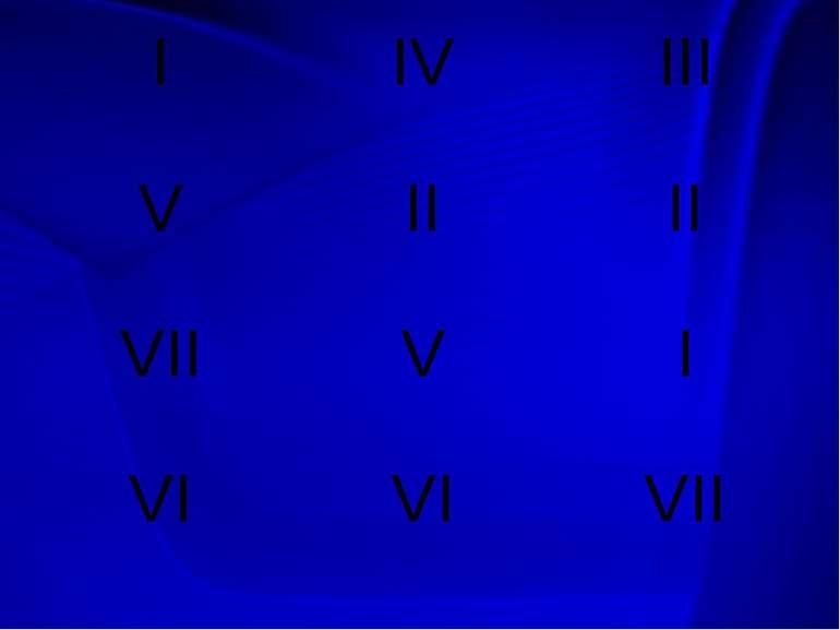 I IV III V II II VII V I VI VI VII