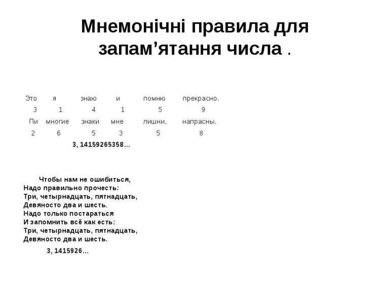 Мнемонічні правила для запам'ятання числа .  Это я знаю и помню прекрасно. 3...