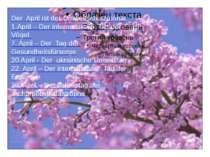 Der April ist der Umweltschutzmonat 1.April – Der internationale Tag der Vöge...