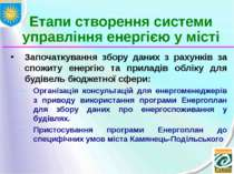 Етапи створення системи управління енергією у місті Започаткування збору дани...
