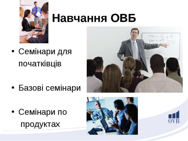 Навчання ОВБ Семінари для початківців Базові семінари Семінари по продуктах