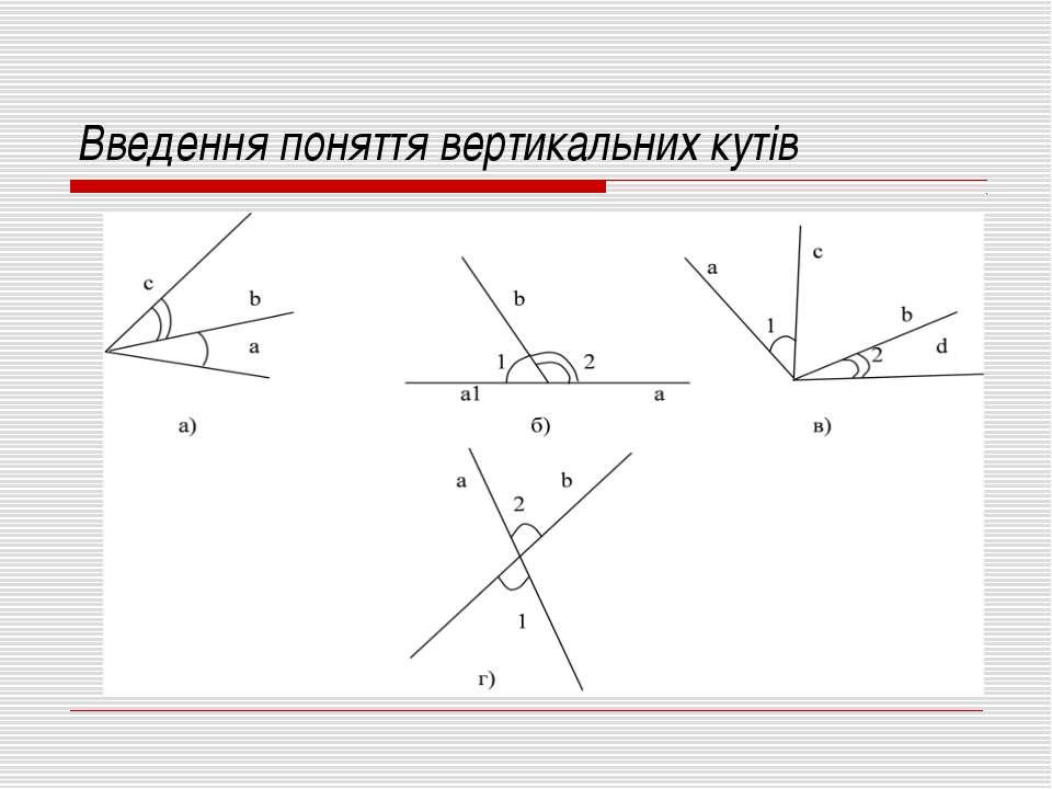 Введення поняття вертикальних кутів