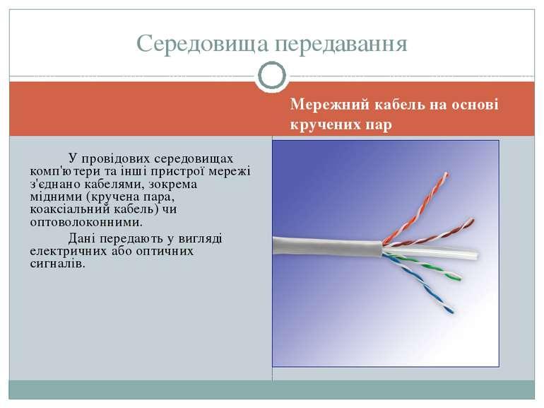 Мережний кабель на основі кручених пар Середовища передавання У провідових се...