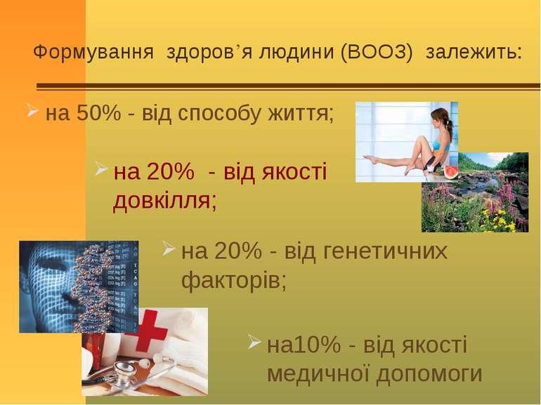 Формування здоров'я людини (ВООЗ) залежить: на10% - від якості медичної допом...