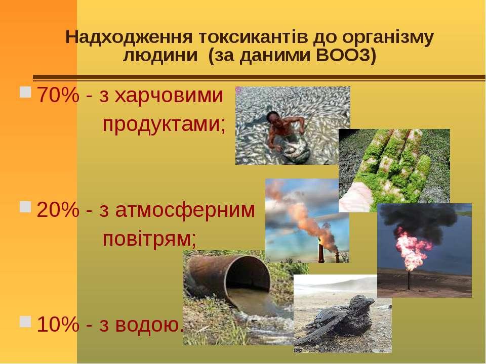 Надходження токсикантів до організму людини (за даними ВООЗ) 70% - з харчовим...