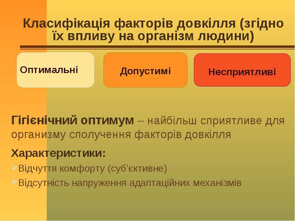 Класифікація факторів довкілля (згідно їх впливу на організм людини) Гігієніч...