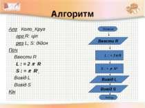 Алгоритм Алг Коло_Круг арг R: ціл рез L, S: дійсн Поч Ввести R L : = 2 R S : ...