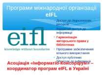 Програми міжнародної організації eIFL Доступ до ліцензованих ресурсів Відкрит...