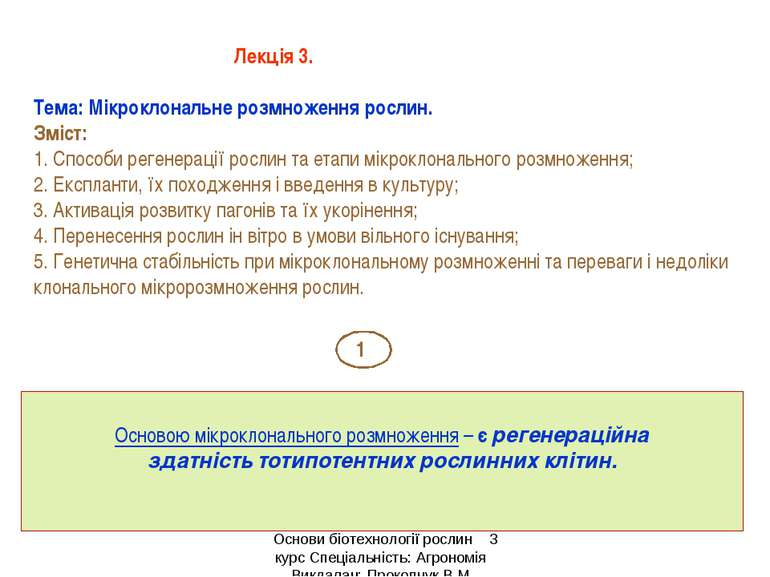 Лекція 3. Тема: Мікроклональне розмноження рослин. Зміст: 1. Способи регенера...