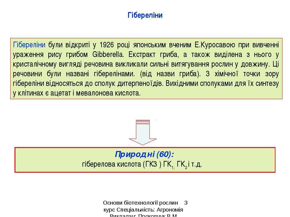 Природні (60): гіберелова кислота (ГК3 ) ГК1; ГК2 і т.д. Гібереліни були відк...