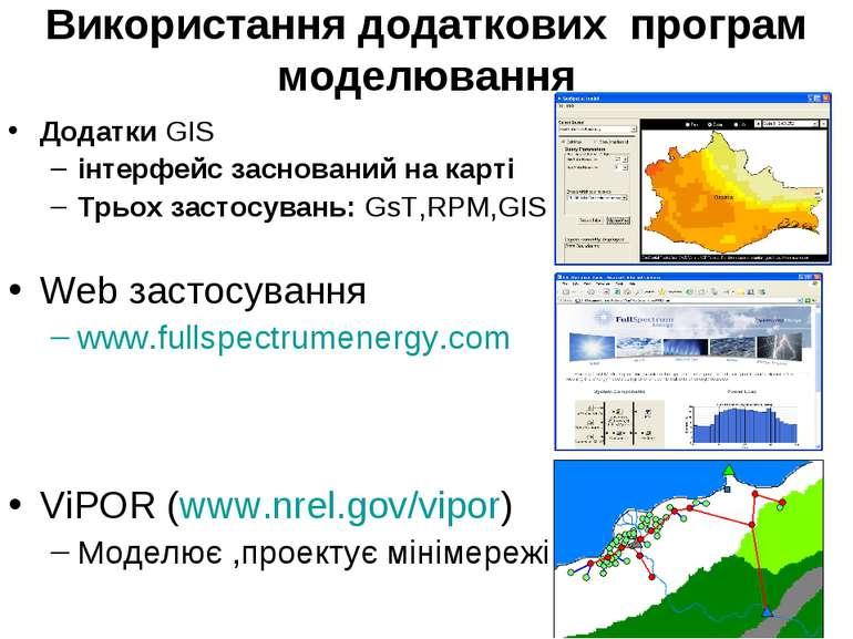 Використання додаткових програм моделювання Додатки GIS інтерфейс заснований ...