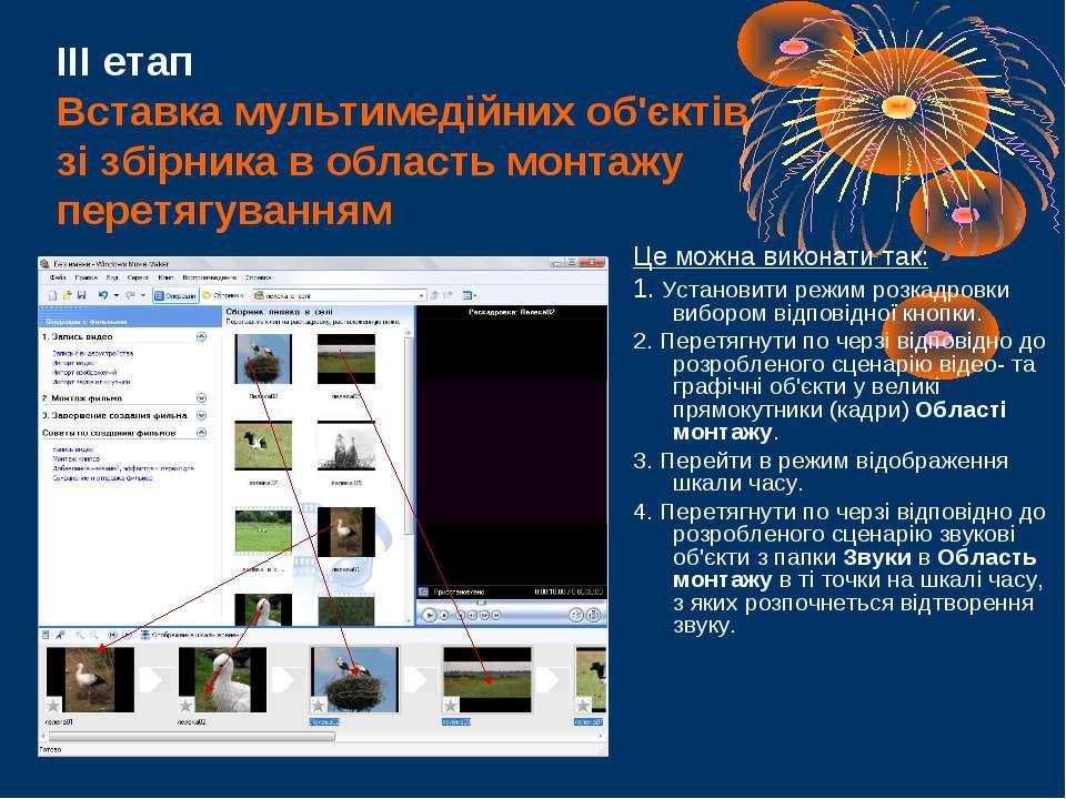 ІІІ етап Вставка мультимедійних об'єктів зі збірника в область монтажу перетя...