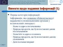 Слайд * Вимоги щодо надання інформації (1) Перша категорія інформації: Інформ...