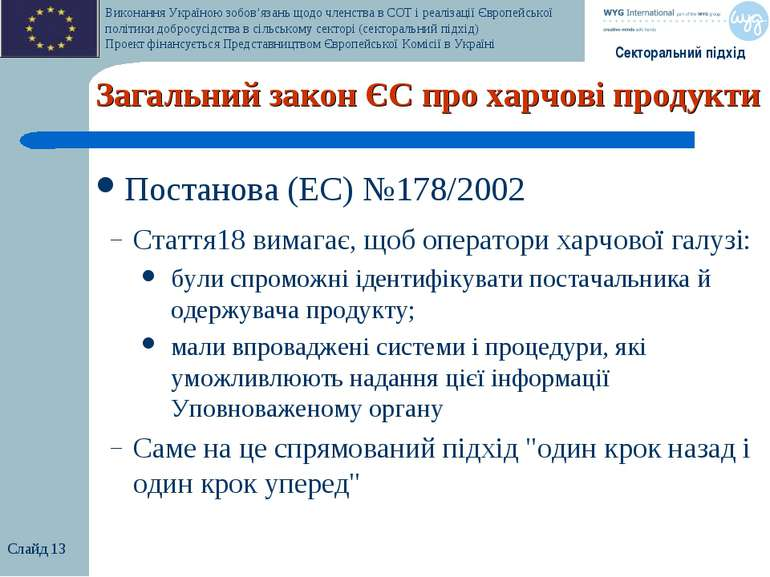 Слайд * Загальний закон ЄС про харчові продукти Постанова (EC) №178/2002 Стат...