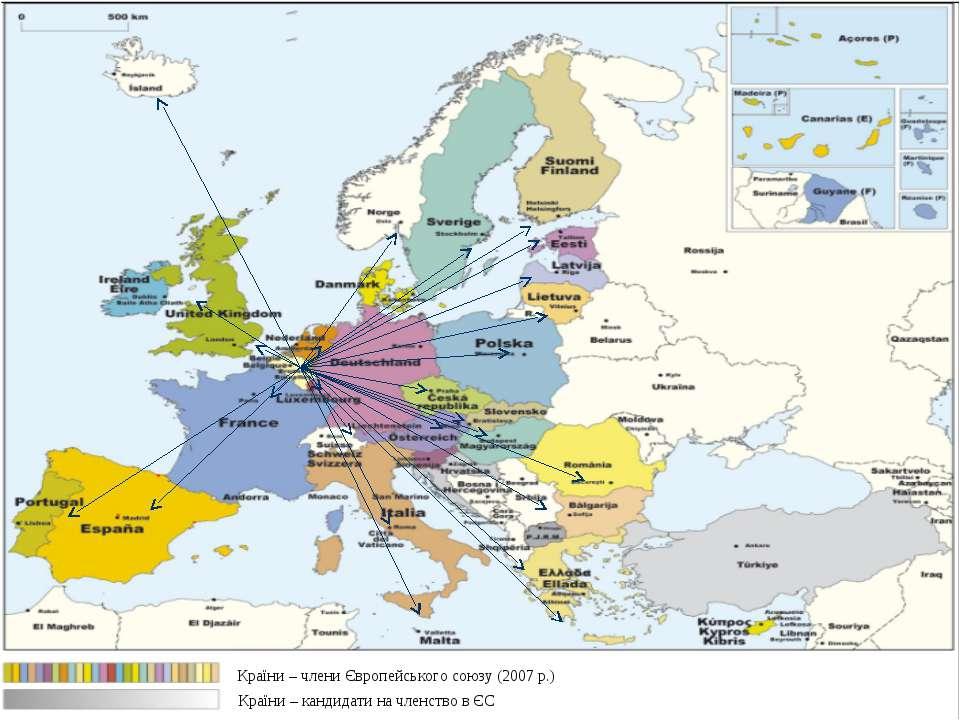 Слайд * Країни – члени Європейського союзу (2007 р.) Країни – кандидати на чл...