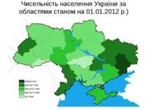 Чисельність населення України за областями станом на 01.01.2012 р.)