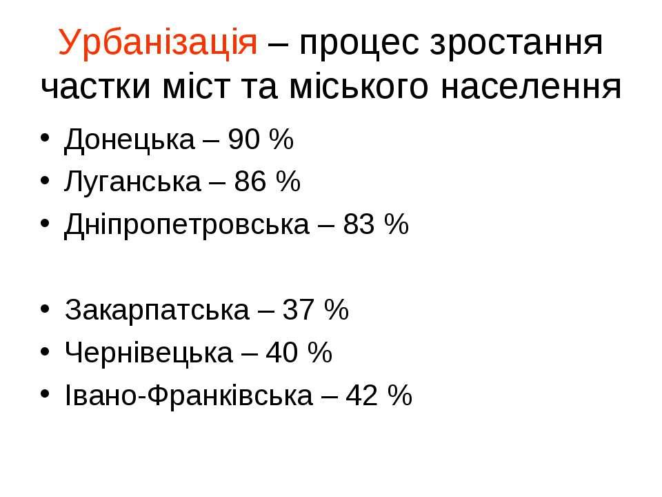 Урбанізація – процес зростання частки міст та міського населення Донецька – 9...