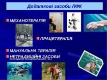 Додаткові засоби ЛФК МЕХАНОТЕРАПІЯ ПРАЦЕТЕРАПІЯ МАНУАЛЬНА ТЕРАПІЯ НЕТРАДИЦІЙН...