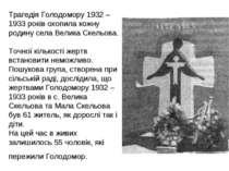 Трагедія Голодомору 1932 – 1933 років охопила кожну родину села Велика Скельо...