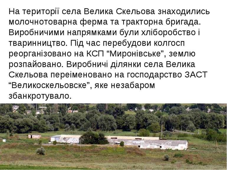 На території села Велика Скельова знаходились молочнотоварна ферма та трактор...