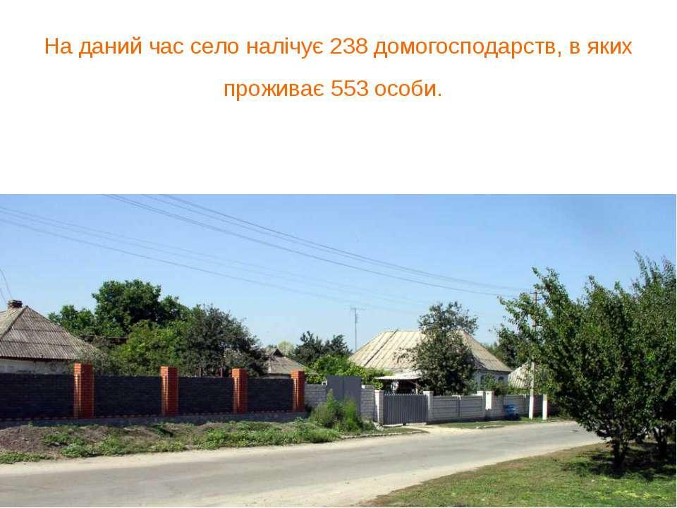 На даний час село налічує 238 домогосподарств, в яких проживає 553 особи.
