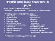Форми організації педагогічної ради традиційна педагогічна рада: доповідь з о...
