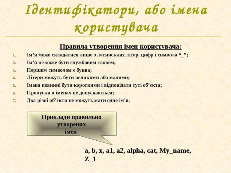 Ідентифікатори, або імена користувача Правила утворення імен користувача: Ім'...