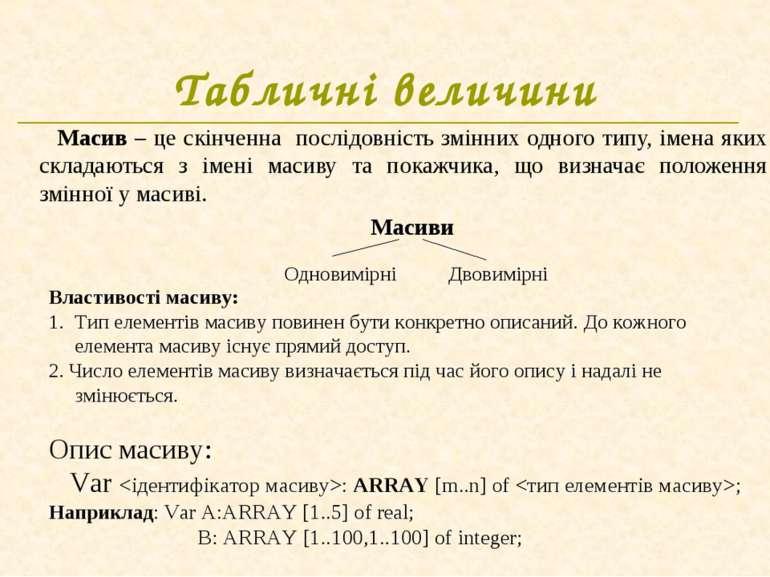 Табличні величини Масив – це скінченна послідовність змінних одного типу, іме...